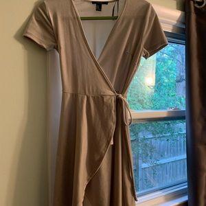 Velour Light Grey Mini Wraparound Dress